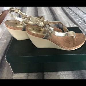 Ralph Lauren wedge sandals in gold-size 5.5